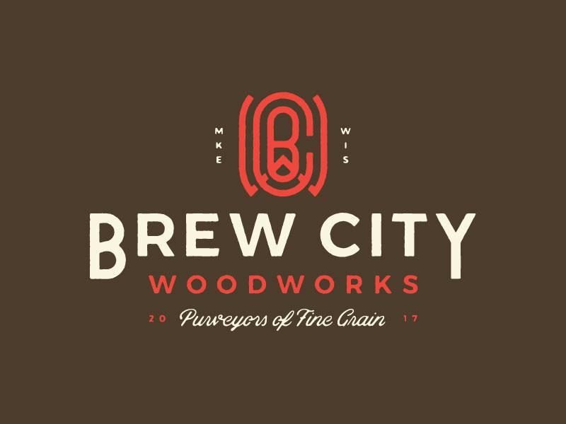 Brew City Woodworks halftone woodgrain grain fine grain monogram wood woodworks beer brew brew city