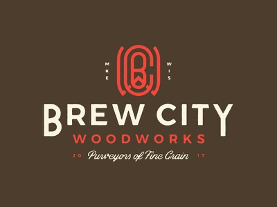Brew City Woodworks halftone woodgrain grain fine grain monogram wood woodworks beer brew brew city