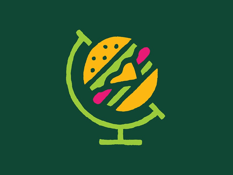 Nomad Burger design vector icon globe logo burger nomad