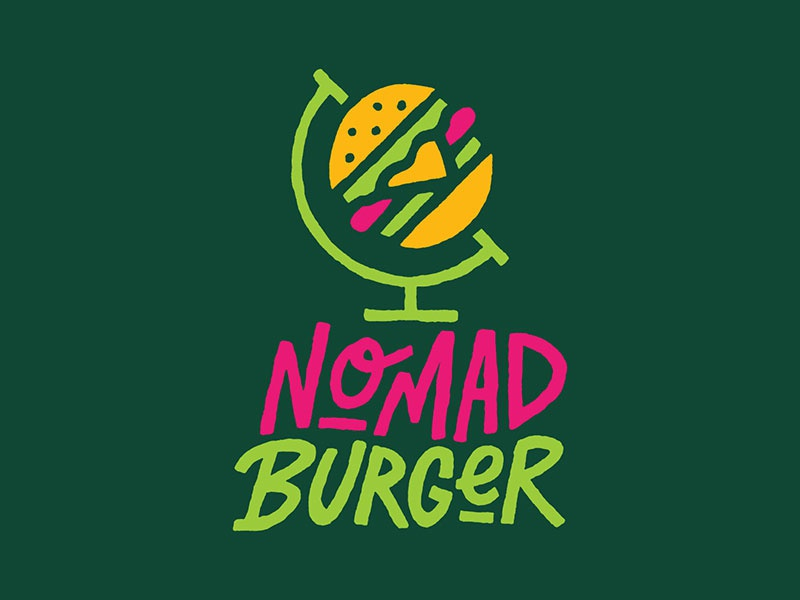 Nomad Burger identity design vector type wisconsin milwaukee hand lettering logotype hand drawn lettering typography branding illustration icon restaurant logo burger nomad