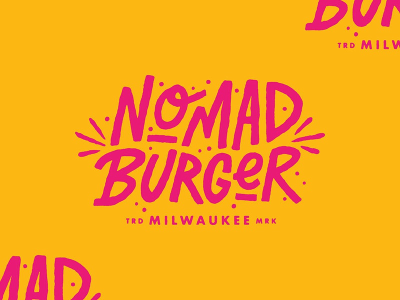 Nomad Burger logo hand drawn hand lettering milwaukee wisconsin type illustration branding typography lettering logotype burger nomad