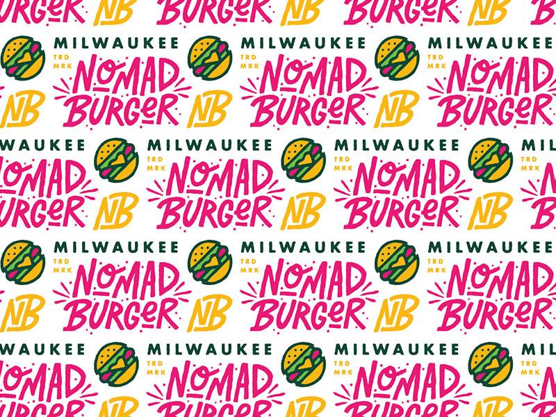 Nomad Burger identity design hand lettering hand drawn logotype wisconsin milwaukee type icon illustration branding typography lettering logo restaurant burger nomad