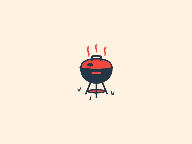Grillin' vector icon illustration summer cookout cook grill
