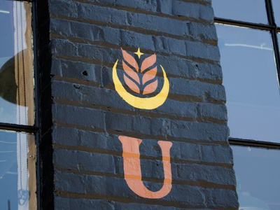 Urban Harvest Brewing Company Branding brewery moon wheat brick painted logo harvest urban