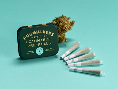 "Dogwalkers Mini Pre Rolls - Indica ""Sit"" joints pre-rolls packaging tin weed cannabis"