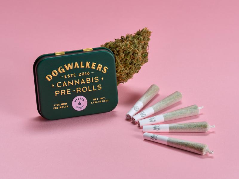 "Dogwalkers Mini Pre Rolls - Hybrid ""Stay"" nug pre-rolls joints weed packaging cannabis"