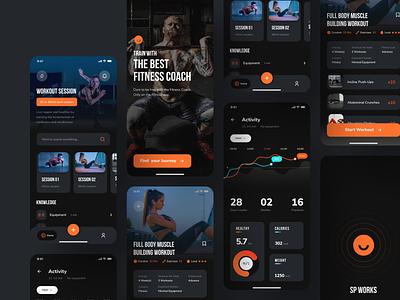 Workout & Fitness - Concept App apple workout ui  ux mobile app interface heart rate gym fitness exercises concept design colorful clean ui clean calories design app