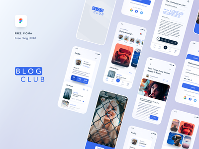 BLOG CLUB - Blog UI kit [Freebie] minimal ui kit blog mobile iphone design ui  ux ios clean ui app