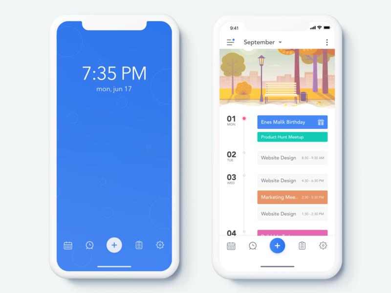 Activity App - Home Screen ui sketch profile plan organize mobile ios free cards calendar android