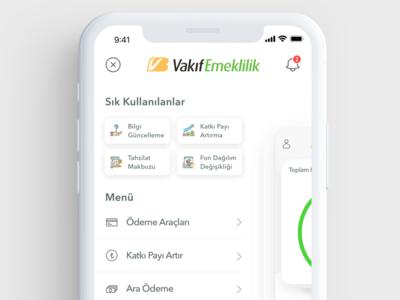 Vakıf Emeklilik - Menu Design ui  ux android free hamburger menu menu pay wallet money mobile finance banking ios app