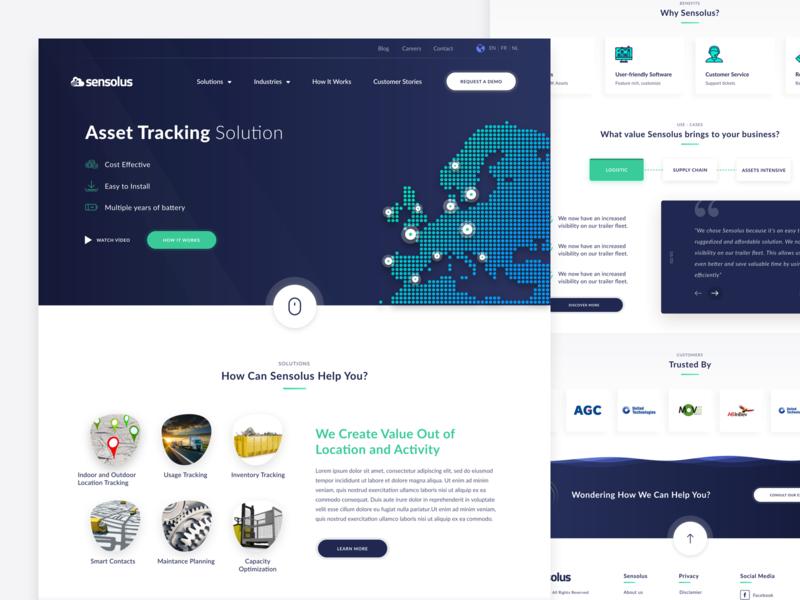 Sensolus - Asset tracking solution service ride navigation gradient web ui  ux tracking track status city map location illustration app