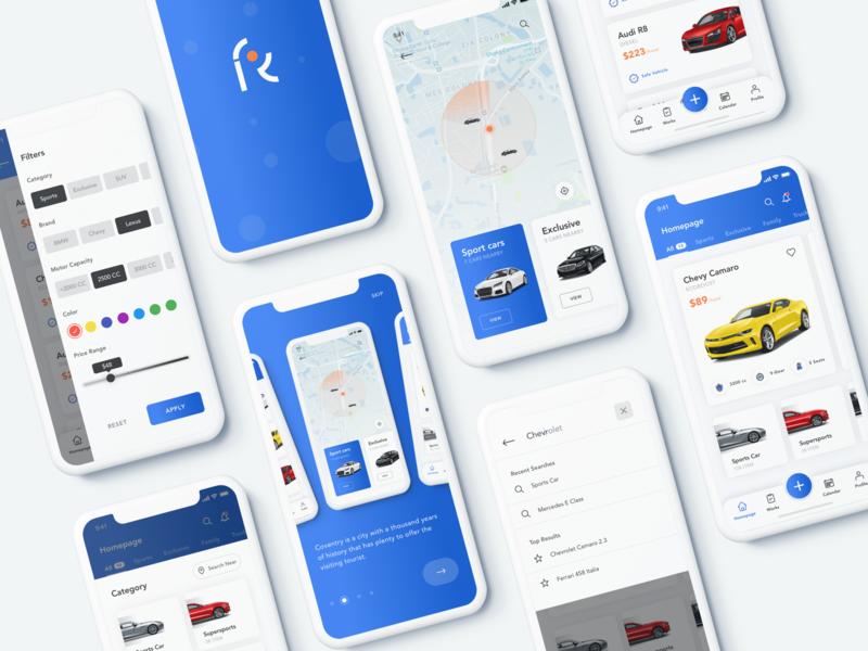 Car Rental Service - App iphone ride ui  ux sketch service rental concept car button app