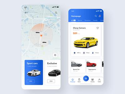 Car Rental - App Screen ui  ux ui sketch service ride rental iphone concept car button app