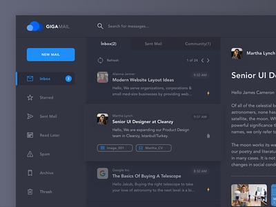 GIGA - Mail Service notification message web inbox ui  ux mail email desktop clean