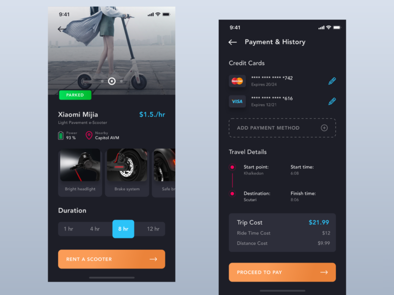 e-Scooter Details & Payment ui ux sharing scooter rental app rent product details payment onboard mockup mobile login iphone ios illustration clean app