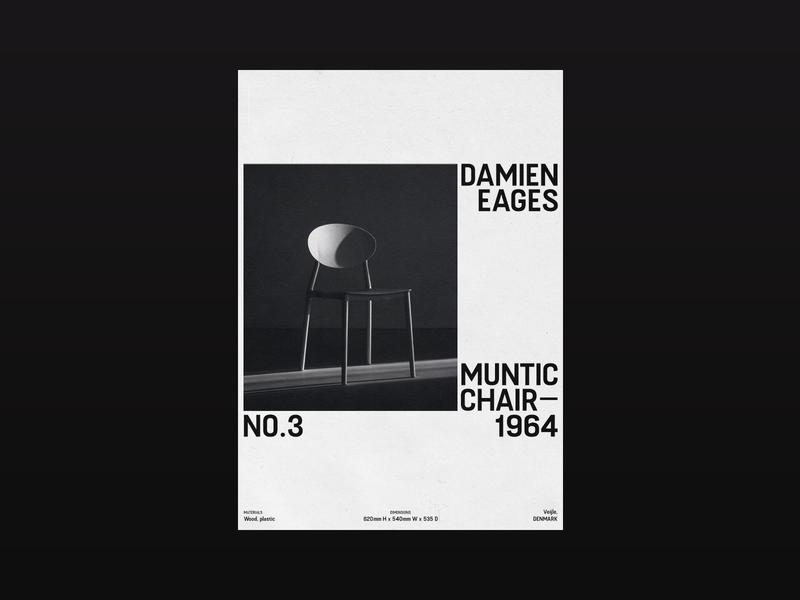 Damien Eages — Muntic Chair promo chair design visual design type design poster design poster art photoshop photography minimalistic graphic typographic poster typo typography poster minimal layout graphic design design