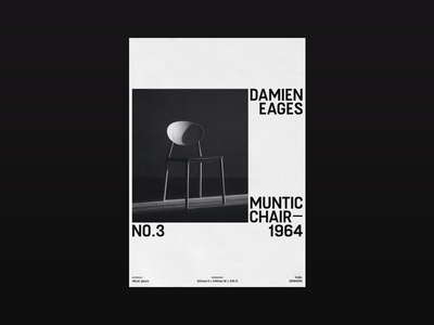 Damien Eages — Muntic Chair promo chair design visual design type design poster design poster art photoshop photography minimalistic graphic typographic poster typo typography poster minimal layout graphic design design