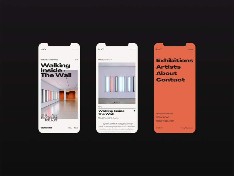 H+Y — Walking Inside the Wall art gallery website web visual design ux design ux ui design ui typography promo mobile ui mobile design mobile minimal layout interace design interface figma graphic design