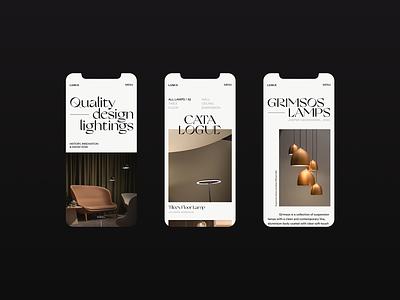 LUMiX — Grimsos Lamps lightings website web visual design ux design ux ui design ui typography promo mobile ui mobile design mobile minimal layout interace design interface figma graphic design