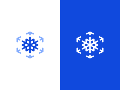 Abstract Frost Symbol + Arrows + Cube(s) shipment delivery logistics freight supply chain boxes blue brand identity frost snowflake cube arrows tech logo