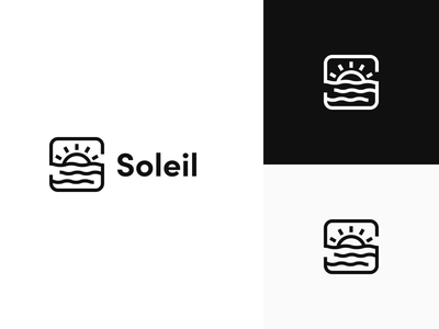 Soleil sunset brand minimal s waves water sun logo design