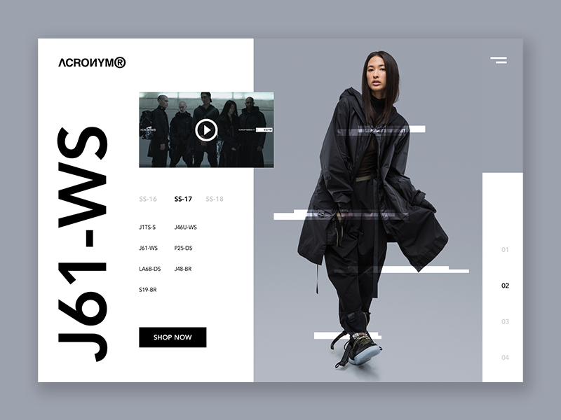 ACRONYM® - Visual Exploration website landing page clothing acronym minimal fashion visual design user interface quincy techwear acrnm