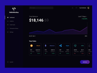 Cryptocurrency Dashboard financial investment gradient ethereum bitcoin dashboard cryptocurrency ui visual design quincy user interface