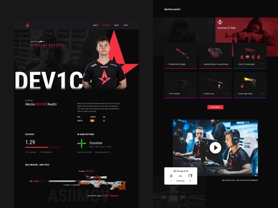 Astralis Redesign - Player Page visual design user interface website player game ui gaming esports counter-strike cs:go astralis