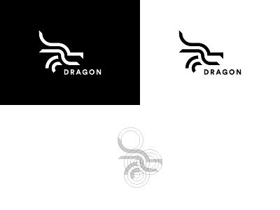 Minimal Dragon Logomark profile dragon lines mark grid quincy abstract minimal logo