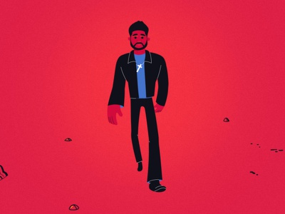 Starboy - character design illustration character animation style walking walk jacket cross pop red character design characterdesign