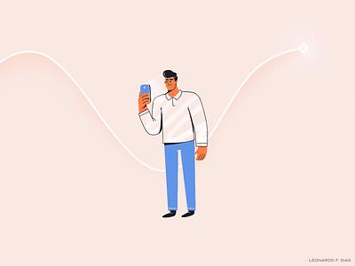 Holding the phone finance trading chart app phone characterdesign character cartoon illustration