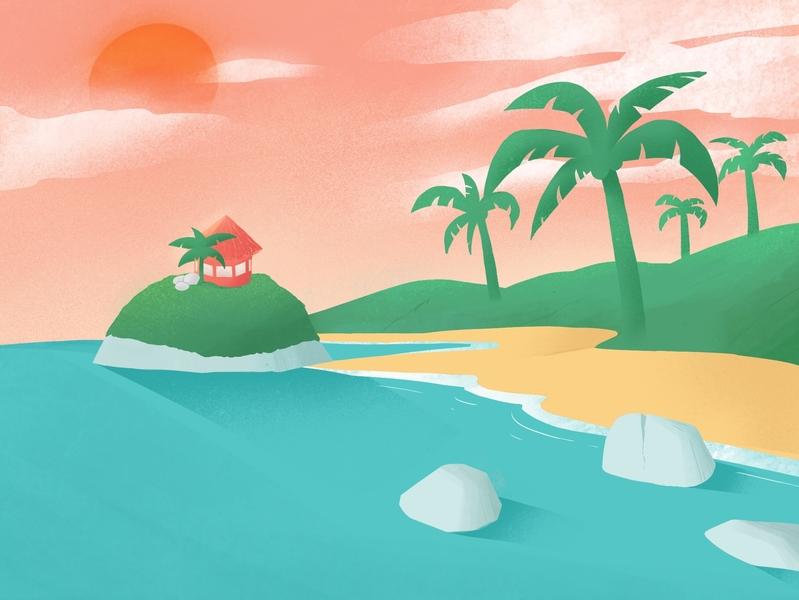 Park Tayrona 🇨🇴 caribbean sea coast coconut colombia beach background art landscape minimalism clean cartoon design illustration