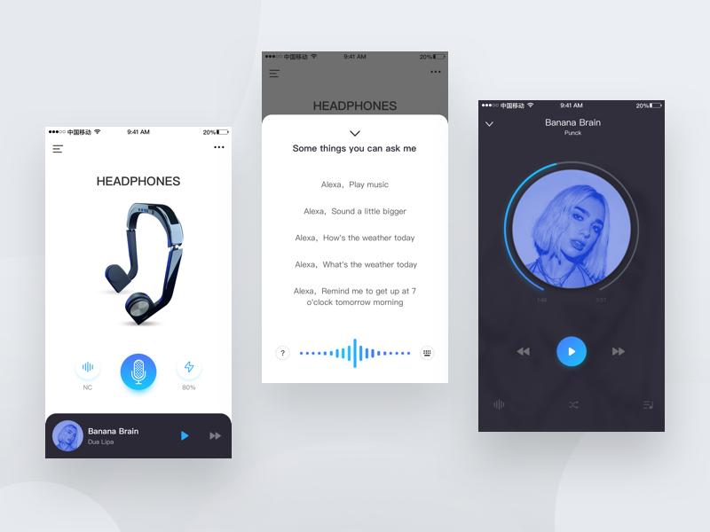 Headset app design ui