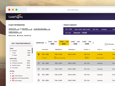 CodeFlights online airline ticket booking. web ui travel search flights airline results