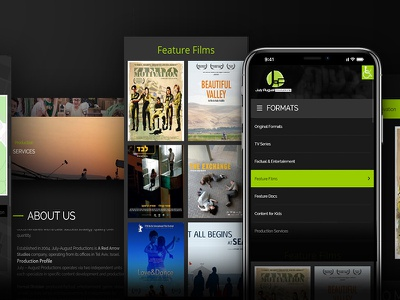 Mobile web design ui films productions mobile