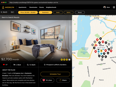 Apartment Page Idea new york city map real estate interace uidesign apartment nooklyn