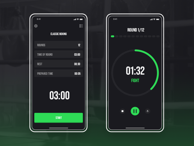 Boxing Timer UI/UX - Flutter App Project dark mode dark app dark ui sport app training app training boxing glove fight ux minimal design app ui