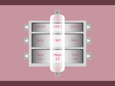 For browsing through an online calendar scroll date calendar web button navigation
