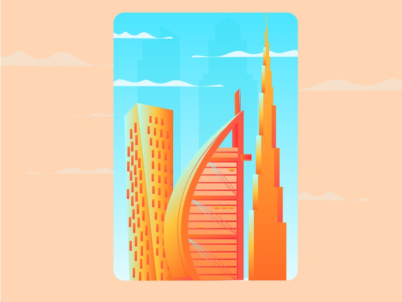 Dubai travel design illustration dubai