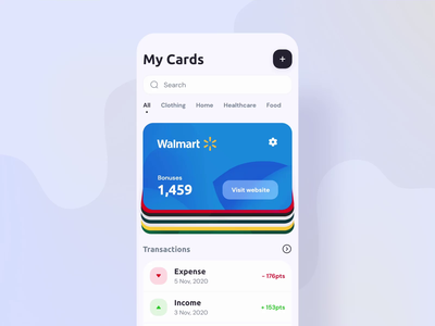 Discount app adobe xd ui cards design wallet discount cards ui aftereffect animation