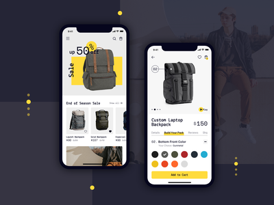 Backpack Shop mobile app mobile app design app design app mobile design ecommerce design ecommerce shop ecommerce ui design ux design ux ui design