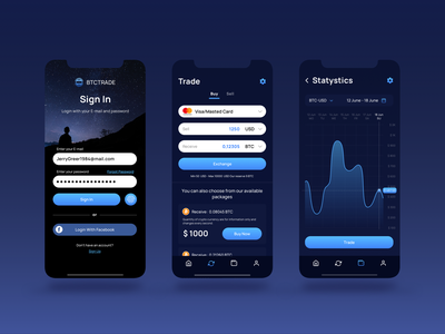 BTC Trade cryptocurrency ui design ux app mobile app design app design crypto exchange crypto app crypto wallet ux design uiux crypto ui design
