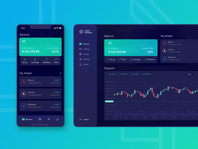 Crypto Exchange web design web app cryptocurrency crypto mobile app design ux design app ui design app design ux ui design