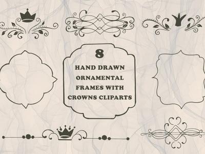 Free Handmade Ornamental Frames With Crowns Cliparts wedding vintage victorian royal retro leaves leaf invitation griffin frame floral emblem design celebration card border background abstract
