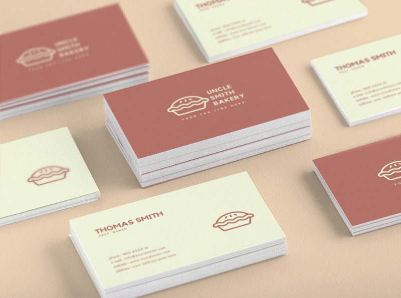 Minimal Bakery Business Card Template template minimal red psd professional personal name modern individual horizontal elegant design creative corporate clean classy card call business card business
