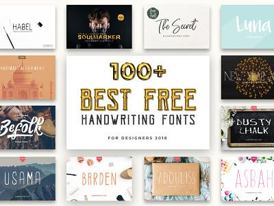 100 Best Free Handwriting Fonts For Designers 2020 poster post pen otf natural modern marker logo ligature handwritten hand graffiti font exclusive design creative craft cool brush art