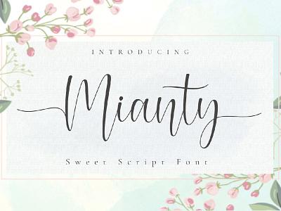 Free Mianty Script Font poster post pen otf natural modern marker logo ligature handwritten hand graffiti font exclusive design creative craft cool brush art