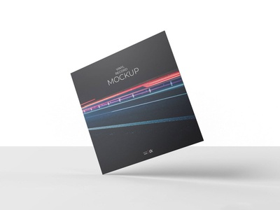 Free Vinyl Record Mockup V3 elegant display costumizable clean analog vinyl transparent texture sleeve shadow record plastic overlay music mockup label holographic cover cd barcode