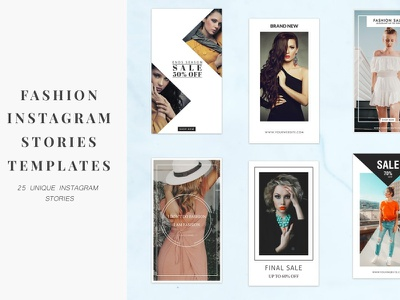 25 Fashion Instagram Stories Templates social media social sale promotion post pack offer luxury layout kit instagram post instagram feed frame fashion elegant discount design collection banner