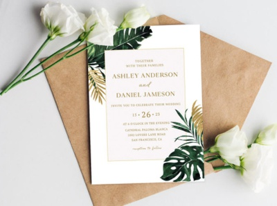 Tropical Monstera Wedding Invitations music modern party